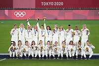 YOKOHAMA, JAPAN - AUGUST 6: USWNT during the 2020 Tokyo Olympics Women's Soccer medal ceremony at International Stadium Yokohama on August 6, 2021 in Yokohama, Japan.