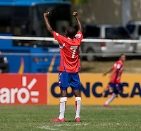 Jake Beckford (7) of Costa Rica celebrates the goal of teammate John Ruiz during the group stage of the CONCACAF Men's Under 17 Championship at Jarrett Park in Montego Bay, Jamaica. Costa Rica defeated El Salvador, 3-2.
