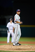 Fort Myers Miracle relief pitcher Jovani Moran (30) gets ready to deliver a pitch during a game against the Lakeland Flying Tigers on August 7, 2018 at Publix Field at Joker Marchant Stadium in Lakeland, Florida.  Fort Myers defeated Lakeland 5-0.  (Mike Janes/Four Seam Images)