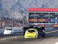 Feb 25, 2017; Chandler, AZ, USA; NHRA funny car driver Jim Campbell during qualifying for the Arizona Nationals at Wild Horse Pass Motorsports Park. Mandatory Credit: Mark J. Rebilas-USA TODAY Sports