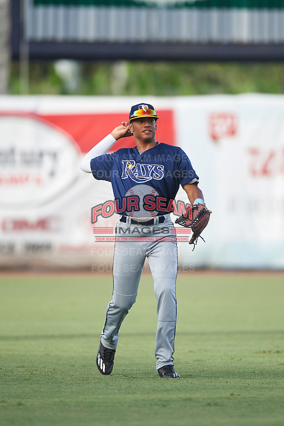 Ricardo De La Torre (9) of the Puerto Rico Baseball Academy playing for the Tampa Bay Rays scout team during the East Coast Pro Showcase on August 3, 2016 at George M. Steinbrenner Field in Tampa, Florida.  (Mike Janes/Four Seam Images)