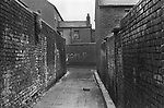 Belfast 1970, inner city slum housing. Back to back terraces, small boy climbing down the high wall. Northern Ireland.  1970s UK