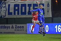 Gent's defender Heleen Jacques (4) pictured during a female soccer game between  AA Gent Ladies and Standard Femina de Liege on the 8 th matchday of the 2020 - 2021 season of Belgian Scooore Womens Super League , friday 20 th of November 2020  in Oostakker , Belgium . PHOTO SPORTPIX.BE   SPP   STIJN AUDOOREN
