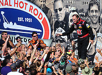 Aug. 21, 2011; Brainerd, MN, USA: NHRA top fuel dragster driver Doug Kalitta during the Lucas Oil Nationals at Brainerd International Raceway. Mandatory Credit: Mark J. Rebilas-