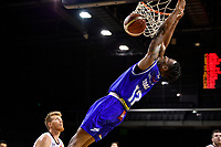 Kerwin Roach of the Wellington Saints dunks the ball during the round one NBL match between the Wellington Saints and the Canterbury Rams at TSB Bank Arena, Wellington, New Zealand on Friday 30 April 2021.<br /> Photo by Masanori Udagawa. <br /> www.photowellington.photoshelter.com