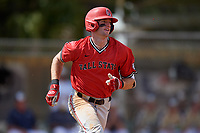 Ball State Cardinals center fielder Aaron Simpson (1) runs to first base during a game against the Mount St. Mary's Mountaineers on March 9, 2019 at North Charlotte Regional Park in Port Charlotte, Florida.  Ball State defeated Mount St. Mary's 12-9.  (Mike Janes/Four Seam Images)