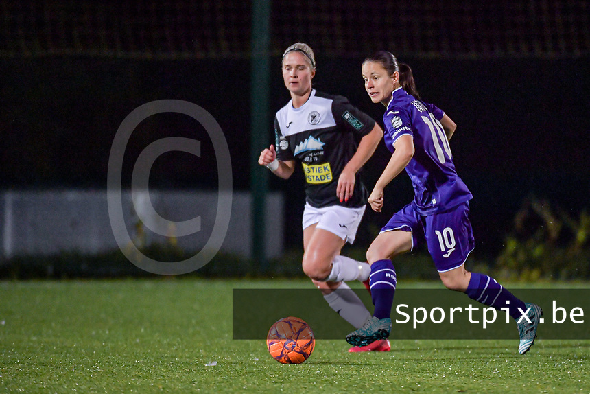 Anderlecht midfielder Stefania Vatafu (10) and Aalst's forward Stephanie Van Gils (27) pictured during a female soccer game between RSC Anderlecht Dames and Eendracht Aalst Ladies  on the fourth matchday of the 2020 - 2021 season of Belgian Womens Super League , Tuesday 13 th of October 2020  in ANDERLECHT , Belgium . PHOTO SPORTPIX.BE | SPP | STIJN AUDOOREN
