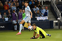 KANSAS CITY, KS - MAY 29: Marko Maric # 1 Houston Dynamo watches the shot from Daniel Salloi #20 Sporting KC go wide of the post during a game between Houston Dynamo and Sporting Kansas City at Children's Mercy Park on May 29, 2021 in Kansas City, Kansas.