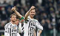 Calcio, Serie A: Juventus vs Sassuolo. Torino, Juventus Stadium, 11 marzo 2016. <br /> Juventus' Leonardo Bonucci celebrates at the end of the Italian Serie A football match between Juventus vs Sassuolo, at Turin's Juventus Stadium, 11 March 2016. Juventus won 1-0.<br /> UPDATE IMAGES PRESS/Isabella Bonotto