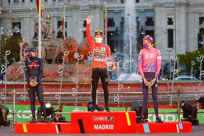 Primoz Roglic (SLO) Team Jumbo-Visma wins the overall general classification Red Jersey with Richard Carapaz (ECU) Ineos Grenadiers finishing 2nd and Hugh John Carthy (ENG) EF Pro Cycling 3rd at the end of Stage 18 of the Vuelta Espana 2020, running 139.6km from Hipódromo de La Zarzuela to Madrid, Spain. 8th November 2020. <br /> Picture: Luis Angel Gomez/PhotoSportGomez | Cyclefile<br /> <br /> All photos usage must carry mandatory copyright credit (© Cyclefile | Luis Angel Gomez/PhotoSportGomez)