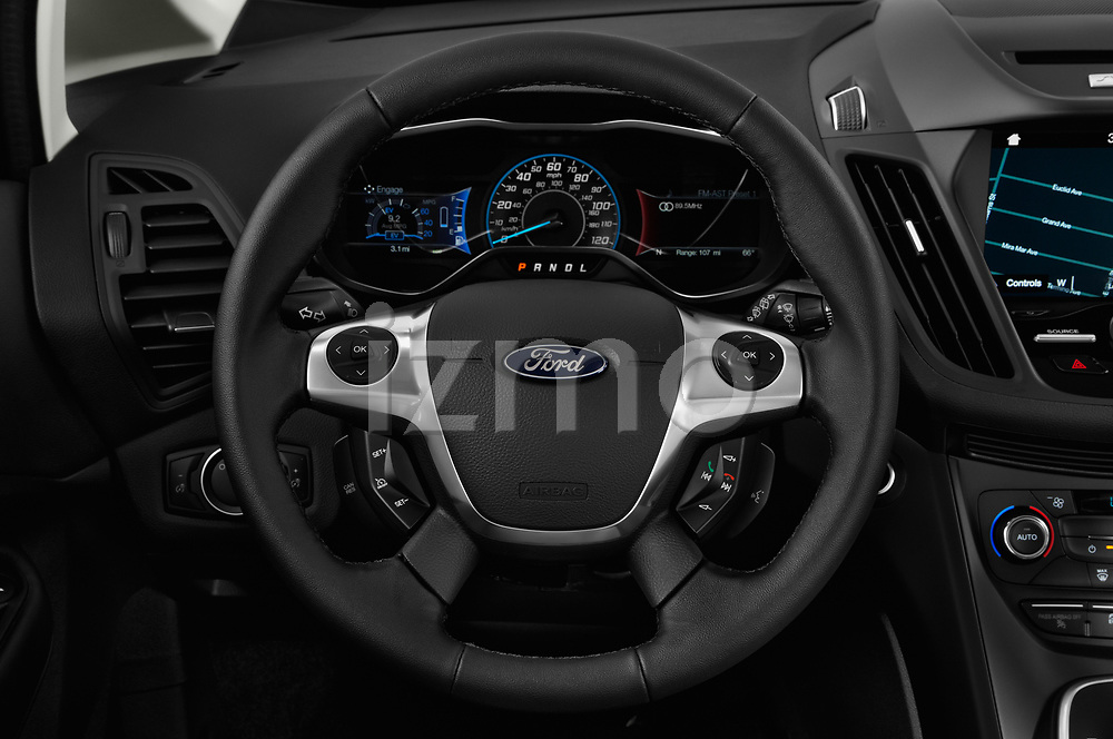 Car pictures of steering wheel view of a 2018 Ford C-Max Hybrid Titanium 5 Door Mini Van