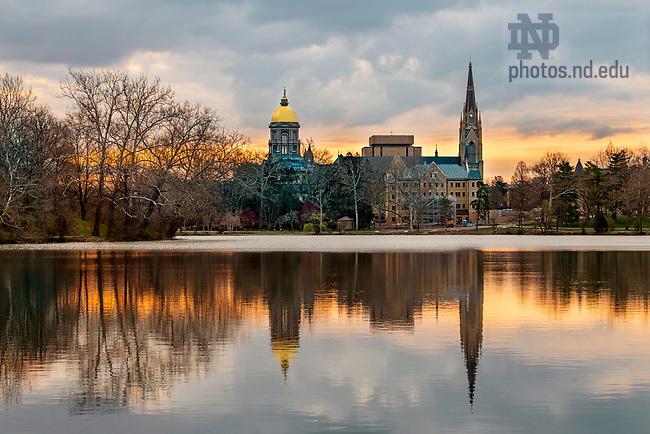 April 14, 2020; Sunrise on campus, spring 2020. (Photo by Barbara Johnston/University of Notre Dame)