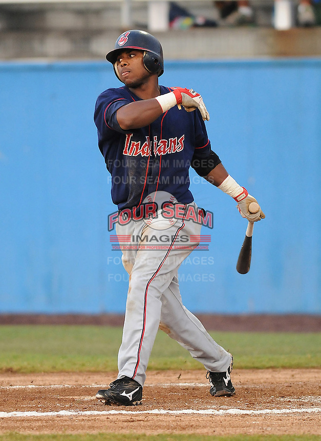 July 17, 2009: Outfielder Lucas Montero (33) of the Kinston Indians, Carolina League affiliate of the Cleveland Indians, in a game against the Potomac Nationals at G. Richard Pfitzner Stadium in Woodbridge, Va. Photo by: Tom Priddy/MiLB.com