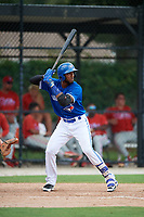 GCL Blue Jays designated hitter Jose Abel Hernandez (37) at bat during a game against the GCL Phillies West on August 7, 2018 at Bobby Mattick Complex in Dunedin, Florida.  GCL Blue Jays defeated GCL Phillies West 11-5.  (Mike Janes/Four Seam Images)