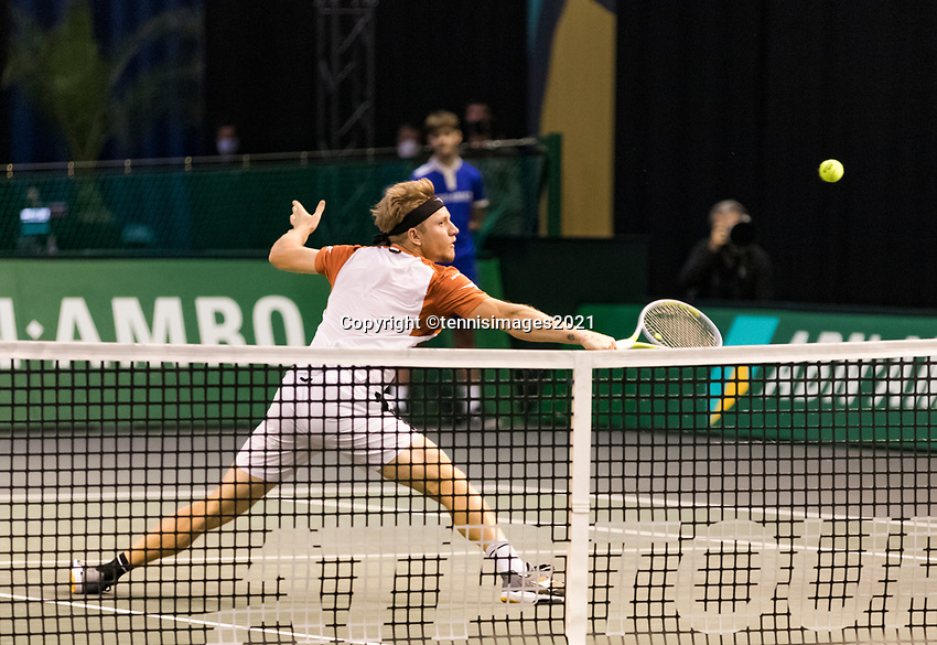 Rotterdam, The Netherlands, 3 march  2021, ABNAMRO World Tennis Tournament, Ahoy, First round singles: Alejandro Davidovich Fokina (ESP).<br /> Photo: www.tennisimages.com/