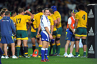 Assistant referee Lourens van der Merwe waits for the conversion attempt after Israel Dagg's try during the Rugby Championship international rugby Bledisloe Cup test match between All Blacks and Australia at Eden Park, Auckland, New Zealand on Saturday, 25 August 2012. Photo: Dave Lintott / lintottphoto.co.nz