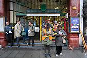 Striking RMT London Bakerloo Line staff picket Edgware Road tube station over job cuts.