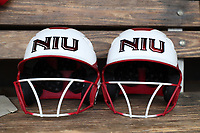 GREENSBORO, NC - MARCH 11: Northern Illinois University batting helmets during a game between Northern Illinois and UNC Greensboro at UNCG Softball Stadium on March 11, 2020 in Greensboro, North Carolina.