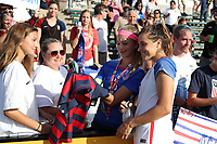 Cary, NC - Sunday October 22, 2017: Sofia Huerta takes a selfie with fans after an International friendly match between the Women's National teams of the United States (USA) and South Korea (KOR) at Sahlen's Stadium at WakeMed Soccer Park. The U.S. won the game 6-0.