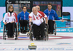 Sochi, RUSSIA - Mar 13 2014 - Sonja Gaudet and Jim Armstrong as Canada takes on Finland at the 2014 Paralympic Winter Games in Sochi, Russia.  (Photo: Matthew Murnaghan/Canadian Paralympic Committee)