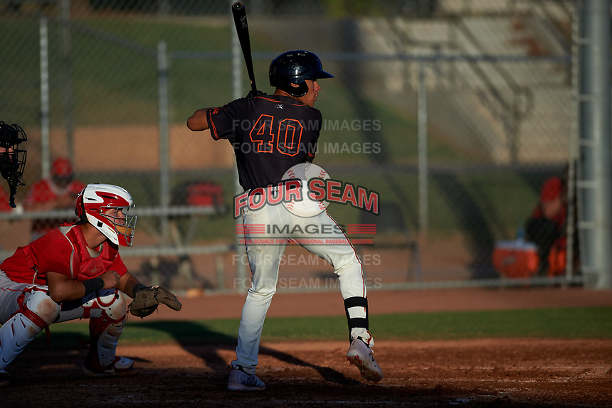 AZL Giants Black Grant McCray (40) at bat in front of Edwin Bisay (5) during an Arizona League game against the AZL Angels at the Giants Baseball Complex on June 21, 2019 in Scottsdale, Arizona. AZL Angels defeated AZL Giants Black 6-3. (Zachary Lucy/Four Seam Images)