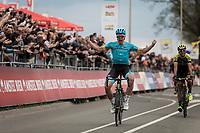 Victory for Michael Valgren Andersen (DEN/Astana) after beating Roman Kreuziger (CZE/Mitchelton Scott) in the sprint. <br /> <br /> 53th Amstel Gold Race (1.UWT)<br /> 1 Day Race: Maastricht > Berg en Terblijt (263km)