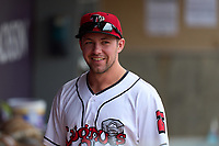 Lansing Lugnuts Jonny Butler (12) during a weather delay before a game against the West Michigan Whitecaps on August 24, 2021 at Jackson Field in Lansing, Michigan.  (Mike Janes/Four Seam Images)
