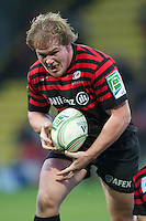 20121216 Copyright onEdition 2012©.Free for editorial use image, please credit: onEdition..Rhys Gill of Saracens in action during the Heineken Cup Round 4 match between Saracens and Munster Rugby at Vicarage Road on Sunday 16th December 2012 (Photo by Rob Munro)..For press contacts contact: Sam Feasey at brandRapport on M: +44 (0)7717 757114 E: SFeasey@brand-rapport.com..If you require a higher resolution image or you have any other onEdition photographic enquiries, please contact onEdition on 0845 900 2 900 or email info@onEdition.com.This image is copyright onEdition 2012©..This image has been supplied by onEdition and must be credited onEdition. The author is asserting his full Moral rights in relation to the publication of this image. Rights for onward transmission of any image or file is not granted or implied. Changing or deleting Copyright information is illegal as specified in the Copyright, Design and Patents Act 1988. If you are in any way unsure of your right to publish this image please contact onEdition on 0845 900 2 900 or email info@onEdition.com