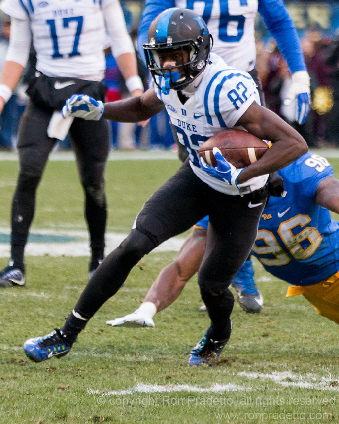 Duke wide receiver Chris Taylor. The Pitt Panthers defeated the Duke Blue Devils 56-14 at Heinz Field in Pittsburgh, Pennsylvania on November 19, 2016.
