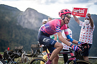 Hugh Carthy (GBR/EF) up the Puy Mary (uphill finish)<br /> <br /> Stage 13 from Châtel-Guyon to Pas de Peyrol (Le Puy Mary) (192km)<br /> <br /> 107th Tour de France 2020 (2.UWT)<br /> (the 'postponed edition' held in september)<br /> <br /> ©kramon