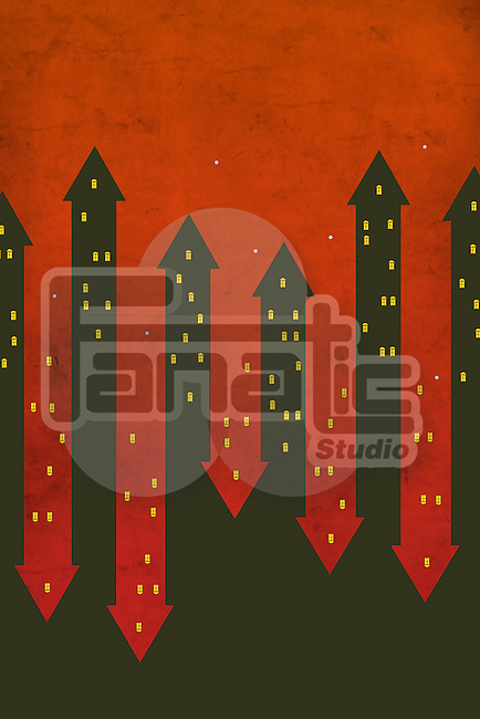 Illustrative image of red and black arrows representing ups and downs in real estate market