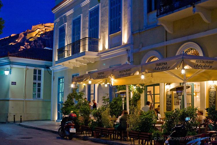 A local restaurant in Nafplio at dusk.