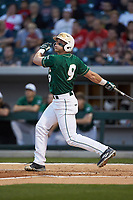Brett Netzer (9) of the Charlotte 49ers follows through on his swing against the Georgia Bulldogs at BB&T Ballpark on March 8, 2016 in Charlotte, North Carolina. The 49ers defeated the Bulldogs 15-4. (Brian Westerholt/Four Seam Images)