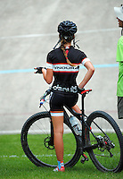 Harriet Beaven discusses the first round of the 2014 New Zealand National Cross-country Mountainbiking Championships at Mount Victoria, Wellington, New Zealand on Sunday, 19 January 2014. Photo: Dave Lintott / lintottphoto.co.nz