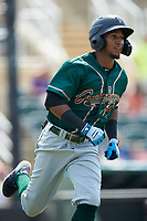 Lolo Sanchez (26) of the Greensboro Grasshoppers hustles down the first base line against the Piedmont Boll Weevils at Kannapolis Intimidators Stadium on June 16, 2019 in Kannapolis, North Carolina. The Grasshoppers defeated the Boll Weevils 5-2. (Brian Westerholt/Four Seam Images)