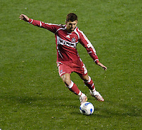 Chicago Fire defender Gonzalo Segares (25). The Chicago Fire defeated D. C. United 1-0 during the first leg of the MLS Eastern Conference Semifinal Series at Toyota Park in Bridgeview, IL, on October 25, 2007.