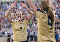 Lindsay Tarpley (5) congratulates Heather O'Rielly after she scores against Mexico. .International friendly, USA Women vs Mexico, Albuquerque, NM,.October 20, 2006..USA 1, Mexico  1.