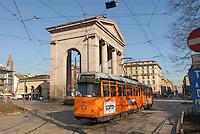 - Milan, tram in 24 May square, at Ticinese Gate....- Milano, tram in piazza 24 Maggio, a Porta Ticinese