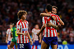 (L-R) Rodrigo Riquelme, Diego Costa and Saul Niguez of Atletico de Madrid celebrate the victory during La Liga match between Atletico de Madrid and SD Eibar at Wanda Metropolitano Stadium in Madrid, Spain.September 01, 2019. (ALTERPHOTOS/A. Perez Meca)
