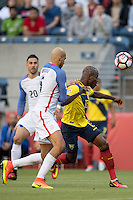 Action photo during the match United States vs Ecuador at CenturyLink Field Stadium Copa America Centenario 2016. ---Foto  de accion durante el partido Estados Unidos En el Estadio CenturyLink Field. Partido Correspondiante a los Cuartos de Final de la Copa America Centenario USA 2016, en la foto: (i)-(d) John Brooks, Enner Valencia<br /> <br /> --- - 16/06/2016/MEXSPORT/Omar Martinez.
