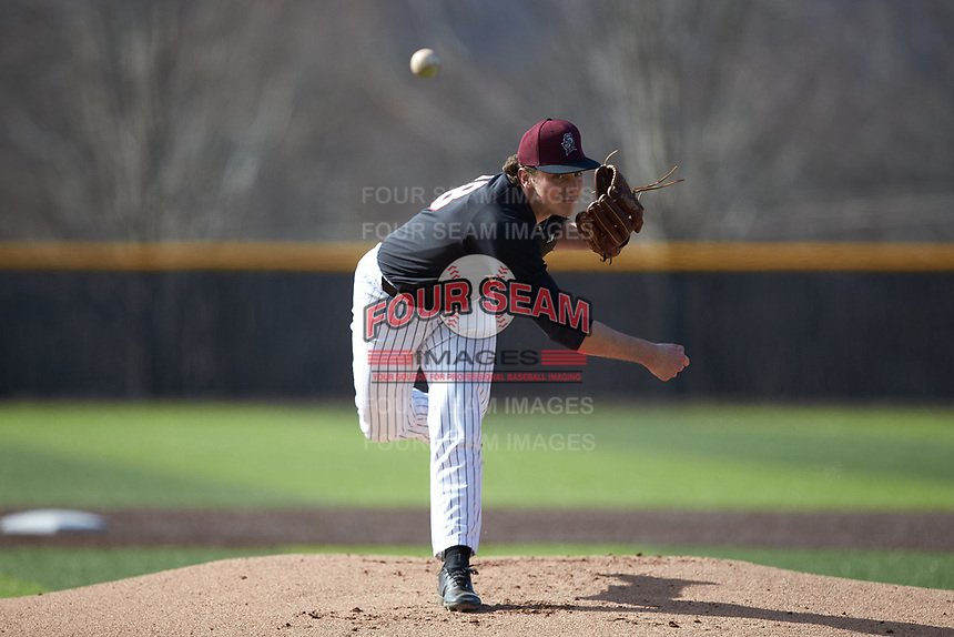 Bellarmine Knights starting pitcher Brandon Pfaadt (28) delivers a pitch to the plate against the North Greenville Crusaders at Ashmore Park on February 7, 2020 in Tigerville, South Carolina. The Crusaders defeated the Knights 10-2. (Brian Westerholt/Four Seam Images)