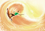 Illustrative image of man surfing representing vacation