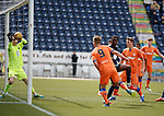 06.05.2019 Falkirk v Rangers reserves: Andy Dallas heads the ball for goal no 2 but the keeper claws the ball away from the line towards Lewis Mayo