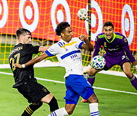 LOS ANGELES, CA - SEPTEMBER 02: Danny Hoesen of the San Jose Earthquakes scores and celebrates during a game between San Jose Earthquakes and Los Angeles FC at Banc of California stadium on September 02, 2020 in Los Angeles, California.
