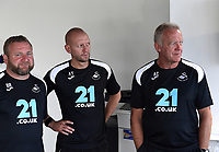 (L-R) Billy Reid, assistant manager, Adrian Tucker and Alan Curtis during the Swansea City Players Return to Pre-Season Training at The Fairwood Training Ground, Wales, UK. Monday 02 July 2018