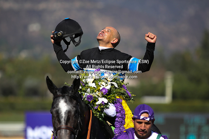 Mizdirection with Mike Smith aboard wins the Breeder's Cup Turf Sprint at Santa Anita Park in Arcadia, California on November 2,2013. (Zoe Metz/ Eclipse Sportswire)