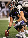 TCU Horned Frogs center Jake Kirkpatrick #76 looks to the sidelines during the game between the Oregon State Beavers and the TCU Horned Frogs at the Cowboy Stadium in Arlington,Texas. TCU defeated Oregon State 30-21.