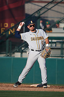 Brenden Farney (21) of the California Bears at first base during infield practice before a game against the Southern California Trojans at Dedeaux Field on March 18, 2016 in Los Angeles, California. California defeated Southern California, 5-4. (Larry Goren/Four Seam Images)