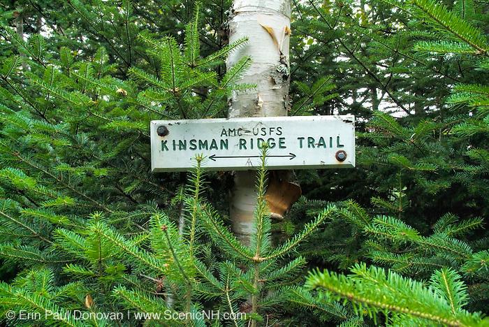 Appalachian Trail- Kinsman Ridge Trail sign  in White Mountains, New Hampshire  USA.