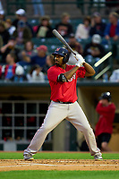 Worcester Red Sox Josh Ockimey (30) bats during a game against the Rochester Red Wings on September 2, 2021 at Frontier Field in Rochester, New York.  (Mike Janes/Four Seam Images)
